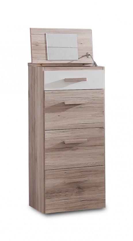 Dětská skříň Cariba - Skříňka se zrcadlem (san remo dub, bílá)