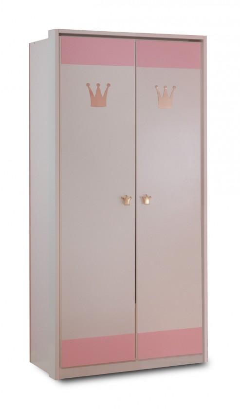 Dětská skříň Cinderella - Skříň dvoudveřová (bílá, růžová)