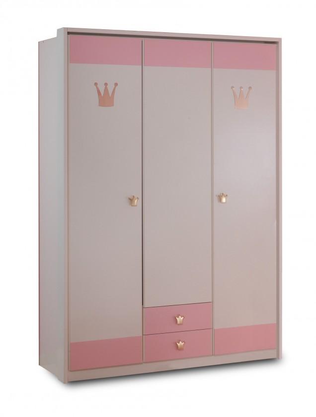 Dětská skříň Cinderella - Skříň třídveřová se zásuvkou (bílá, růžová)