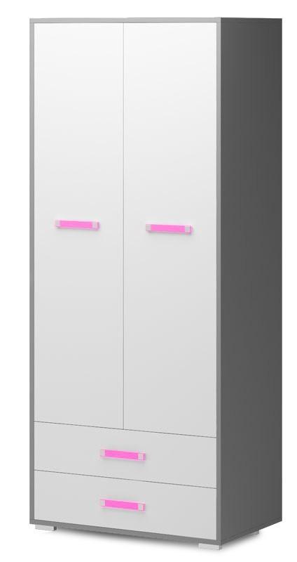 Dětská skříň Diego 01 - Skříň (přední strana bílá/šedé boky/růžový úchyt)