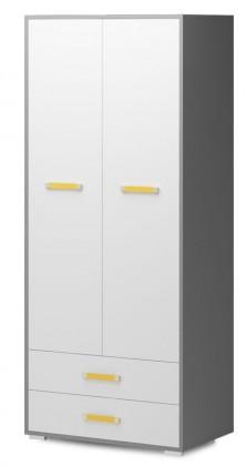 Dětská skříň Diego 01 - Skříň (přední strana bílá/šedé boky/žlutý úchyt)