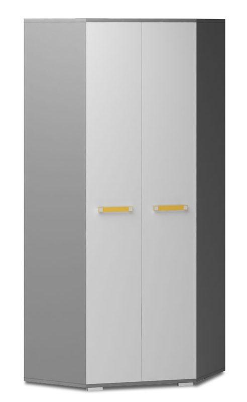 Dětská skříň Diego 05 - Skříň (přední strana bílá/šedé boky/žlutý úchyt)