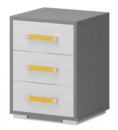 Dětská skříň Diego 13 - Skříňka (přední strana bílá/šedé boky/žlutý úchyt)