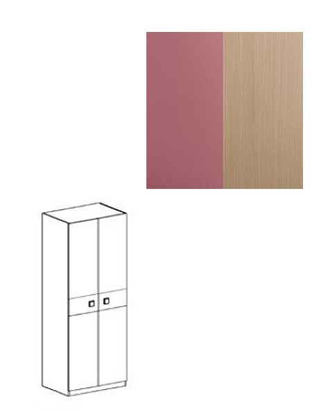 Dětská skříň Fantazja - Skříň SZ2D (dub mléčný / fialová)