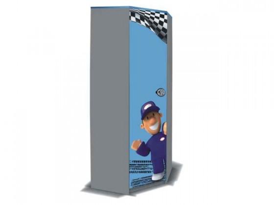 Dětská skříň Junior mechanik - Skříň rohová (šedá/modrá)