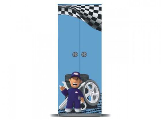 Dětská skříň Junior mechanik - Skříň (šedá/modrá, 2x dveře)