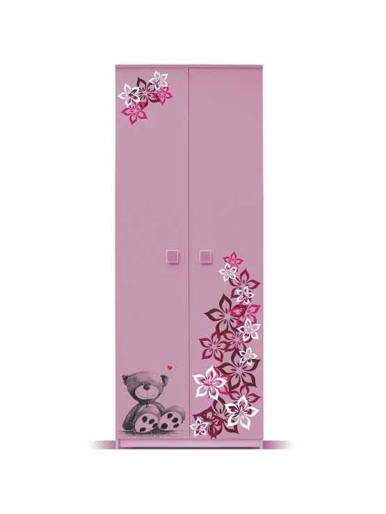 Dětská skříň Junior - Skříň, medvídek 1 (bříza/růžová)
