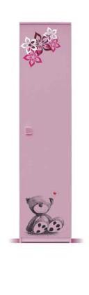 Dětská skříň Junior - Skříň, medvídek 2 (bříza/růžová)