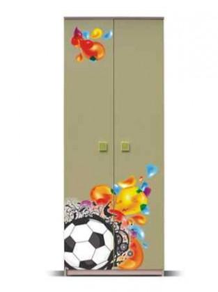 Dětská skříň Junior - Skříň, míč 1 (bříza/zelená)
