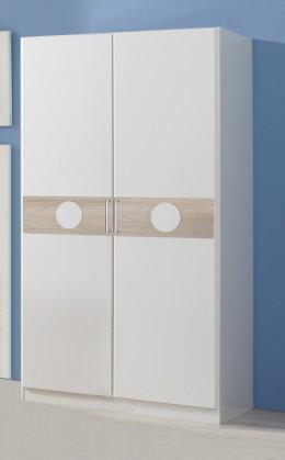 Dětská skříň Kimba - Šatní skříň dvoudveřová  (bílá, dub)