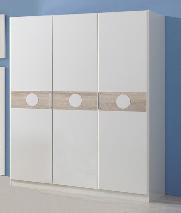 Dětská skříň Kimba - Skříň třídveřová  (bílá, dub)