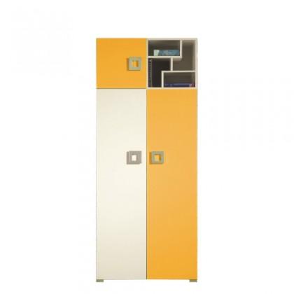 Dětská skříň LABYRINT LA 2 (krémová/oranžová)