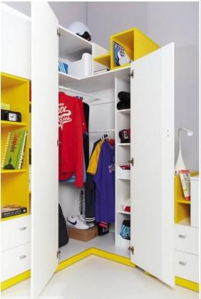 Dětská skříň MOBI MO 1 (bílá lesk/žlutá)
