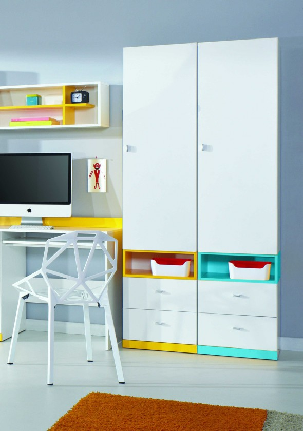 Dětská skříň MOBI MO 3 L/P (bílá lesk/žlutá)