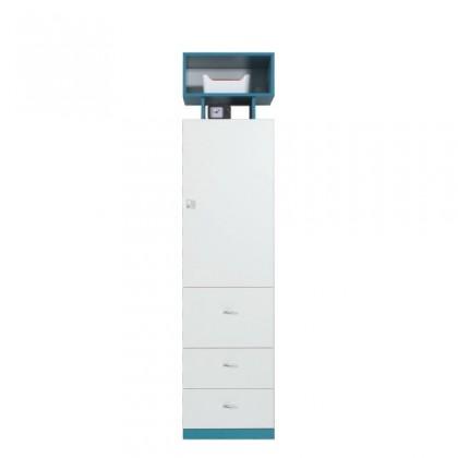 Dětská skříň MOBI MO 4 L/P (bílá lesk/tyrkysová)