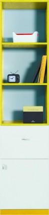 Dětská skříň MOBI MO 5 L/P (bílá lesk/žlutá)