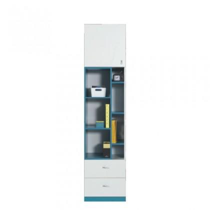 Dětská skříň MOBI MO 6 L/P (bílá lesk/tyrkysová)
