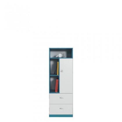 Dětská skříň MOBI MO 7 (bílá lesk/tyrkysová)