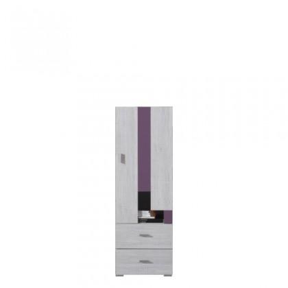 Dětská skříň NEXT NX 8 (borovice/fialová)