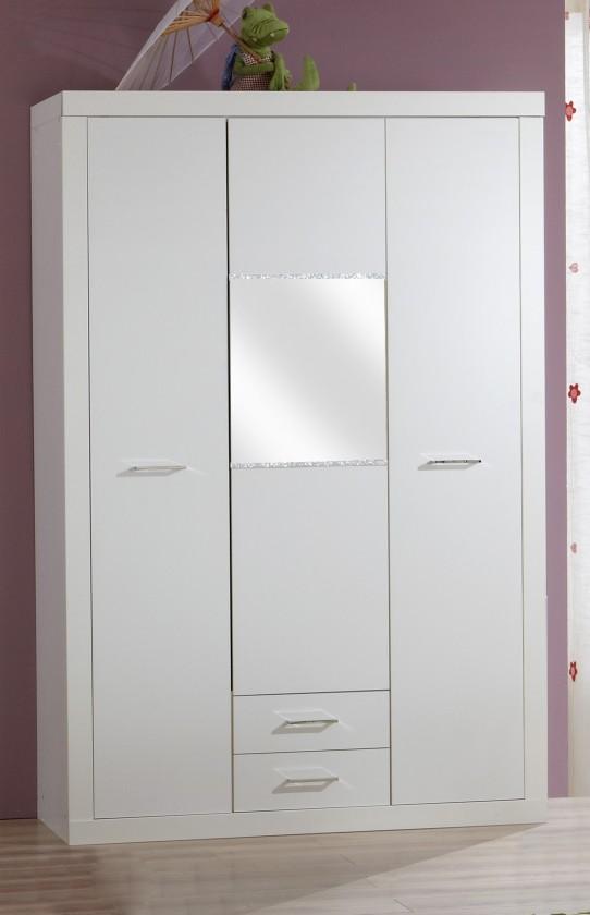 Dětská skříň Nightlight - Skříň se zásuvkou (bílá, křišťálové kamínky)