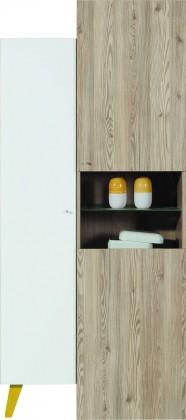 Dětská skříň SAJMON SJ 10 L/P + 4 L/P (modřín/bílá lesk/žlutá)