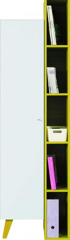 Dětská skříň SAJMON SJ 10 L/P + 6 (modřín/bílá lesk/žlutá)