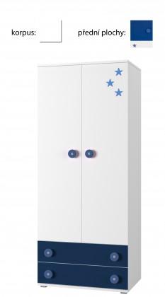 Dětská skříň Simba 1(korpus bílá/front bílá a modrá)