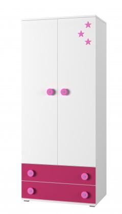 Dětská skříň Simba 1(korpus bílá/front bílá a růžová)