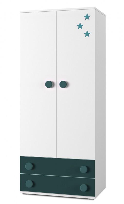 Dětská skříň Simba 1(korpus bílá/front bílá a tyrkysová)