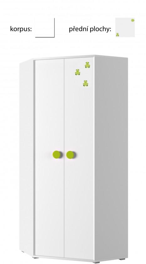 Dětská skříň Simba 6(korpus bílá/front bílá a zelený medvídek)