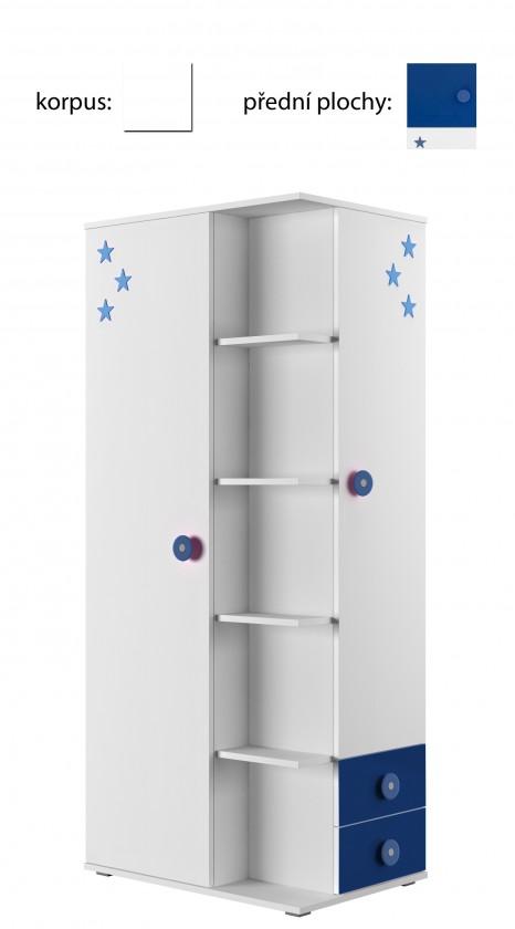Dětská skříň Simba 7(korpus bílá/front bílá a modrá)