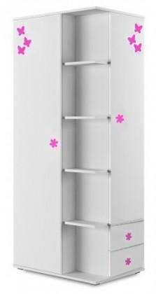 Dětská skříň Simba 7(korpus bílá/front bílá a růžový motýlek)