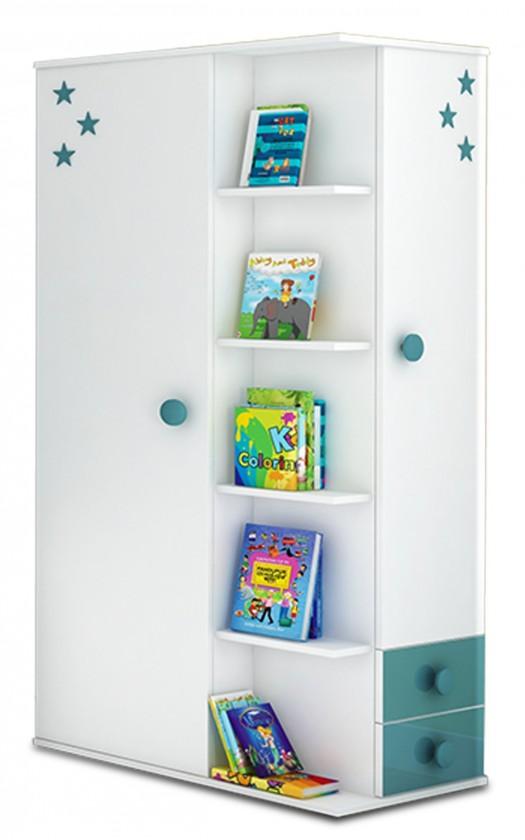 Dětská skříň Simba 7(korpus bílá/front bílá a tyrkysová)