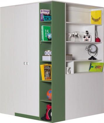 Dětská skříň Stone - Rohová šatní skříň ST1 P/L (bílá, zelená)