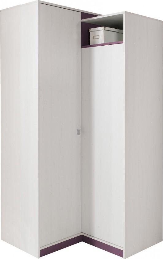 Dětská skříň Stone - Rohová skříň ST2 (bílá, fialová)
