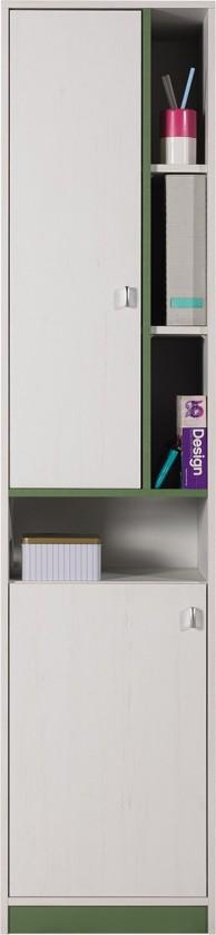 Dětská skříň Stone - Skříň s policemi ST4 (bílá, zelená)