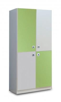 Dětská skříň Sunny - Skříň dvoudveřová (alpská bílá se zeleným jablkem)