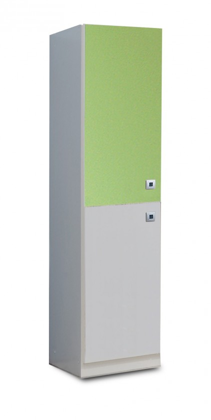 Dětská skříň Sunny - Skříň jednodveřová (alpská bílá se zeleným jablkem)