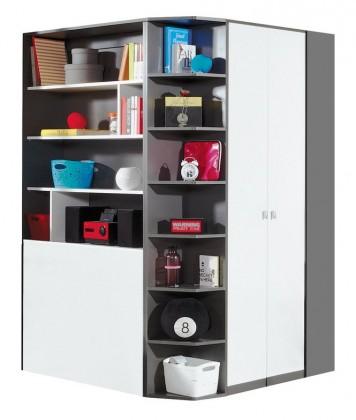 Dětská skříň Tablo-šatní skříň, 2x dveře, 135 cm (grafit/bílá, lesk/atlantic)