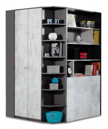 Dětská skříň Tablo - šatní skříň, 2x dveře, 135 cm (grafit/enigma)