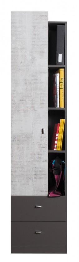 Dětská skříň Tablo - skříň, 1x dveře, 2x zásuvka (grafit/enigma)