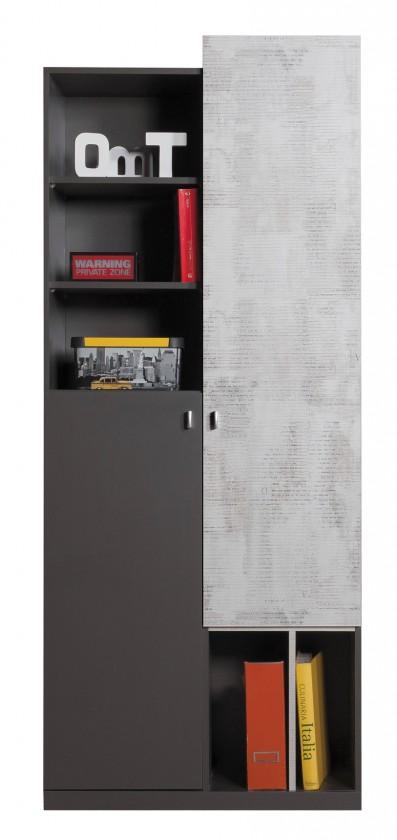 Dětská skříň Tablo - skříň, 2x dveře (grafit/enigma)