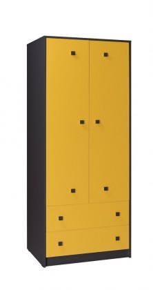 Dětská skříň Tommy 2 (šedá/žlutá)