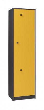 Dětská skříň Tommy 3 (šedá/žlutá)