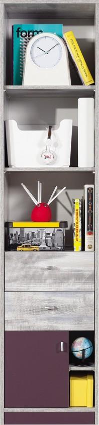 Dětská skříň Zoom - Skříň s policemi a zásuvkou ZM6 (antic, fialová)