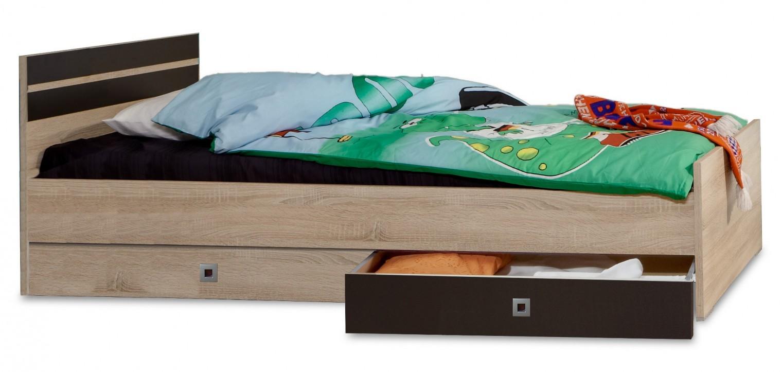 Dětské pokoje ZLEVNĚNO Game - Postel, 90x200, úložný prostor (dub, černá)