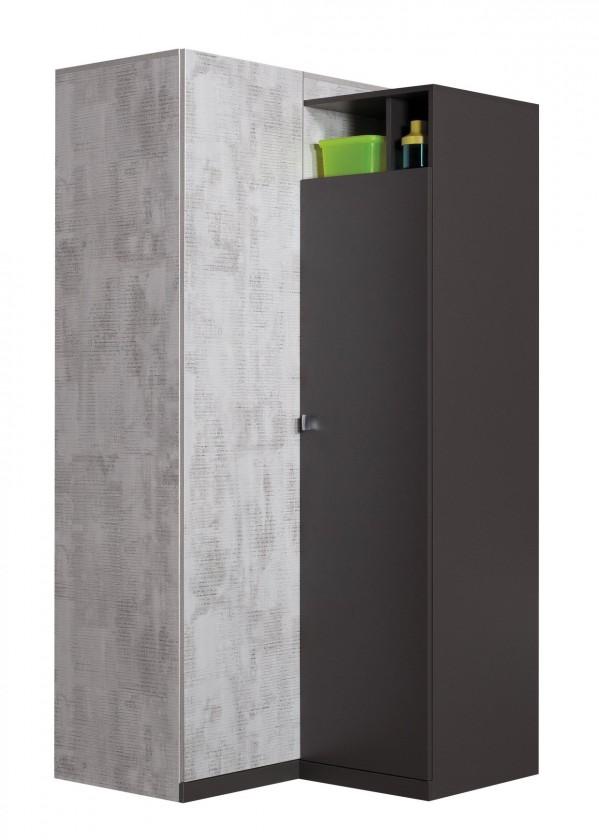 Dětské pokoje ZLEVNĚNO Tablo - šatní skříň, 2x dveře, 90 cm (grafit/enigma)