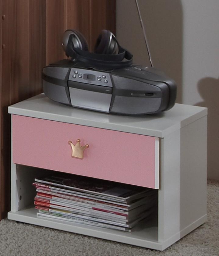 Dětský noční stolek Cinderella - Noční stolek (bílá, růžová)