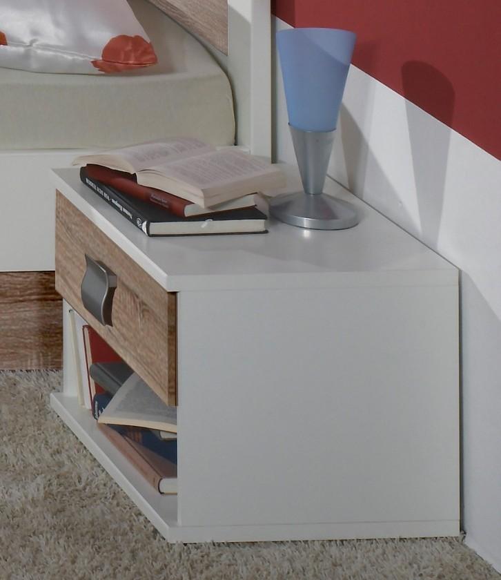 Dětský noční stolek Jette - 321697 (alpská bílá / dub řezaný)