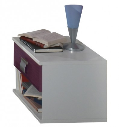 Dětský noční stolek Jette - 366697 (alpská bílá / ostružina)